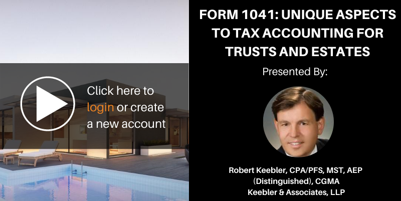 Form 1041 unique aspects
